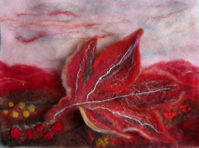 Needle felted autum leaf - 3D picture.