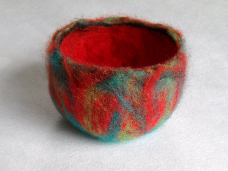First attempt at a wet felted bowl...it can only get better!