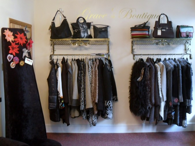 Stylish Autumn/Winter Coats on display in Graces Boutique.