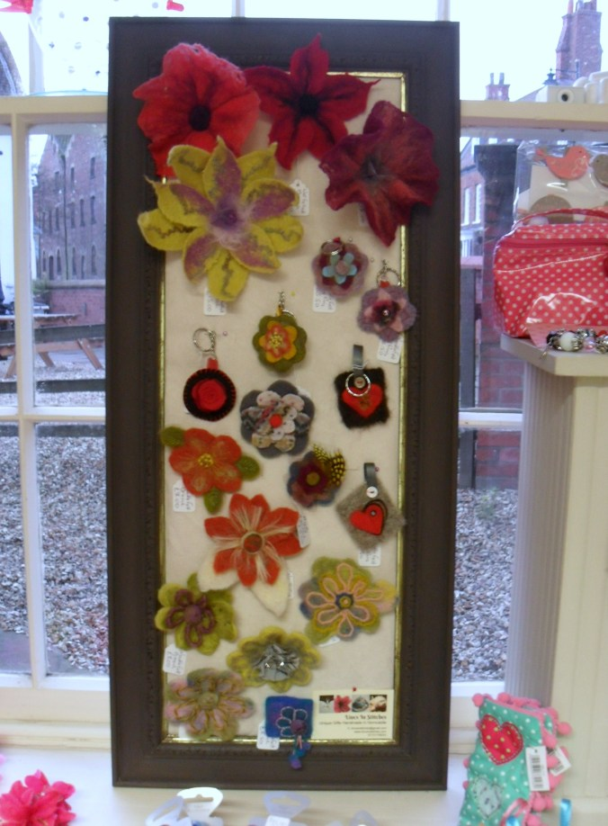 A selection of my handmade wet and dry felted brooches and keyrings.