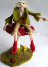 3D Toadstool and Elf created using Merino wool.
