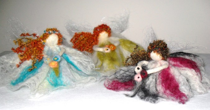 Each Flower Fairy is decorated with a beaded headband and carries a posy.