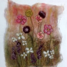 Flower Meadow using wet and dry felting and machine stitching.