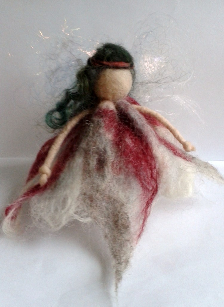 Wet felted fairy.