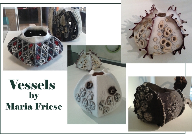 Felted vessels created by Maria Friese on display at the NCCD at Sleaford, Lincolnshire.