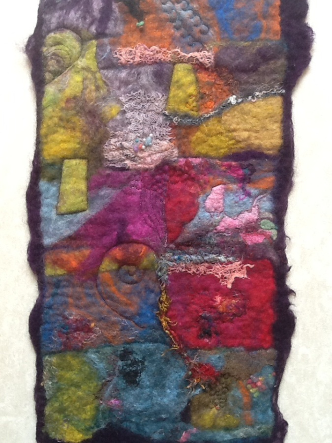 Rectangular wet felted abstract picture