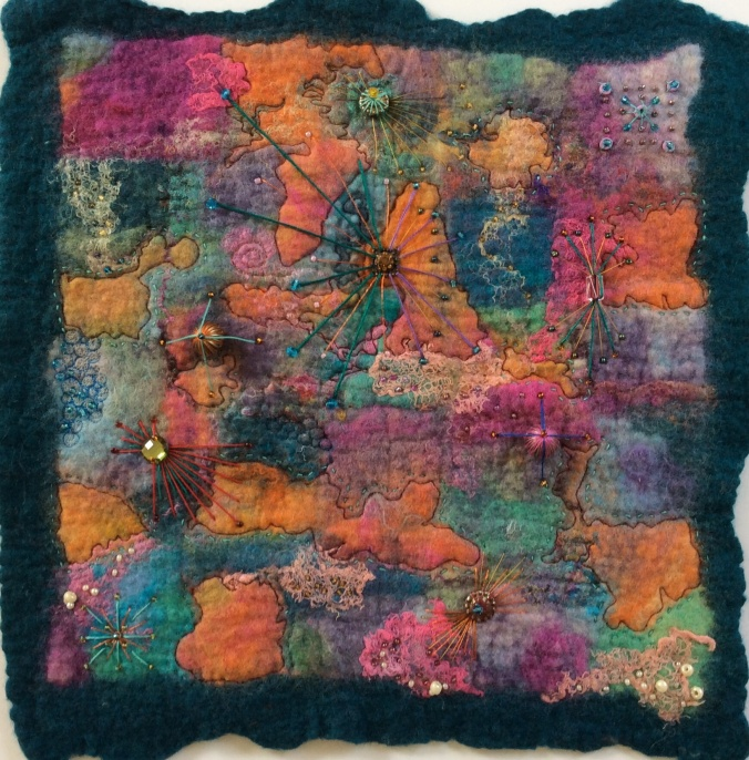 Abstract wet felted picture.