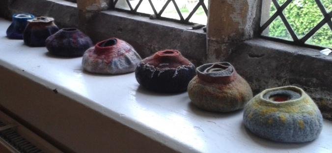 Wet felted bowls