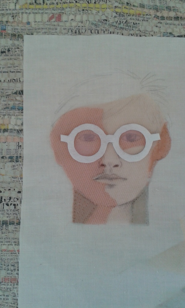 More shading added to the face....the glasses are tried on for positioning.