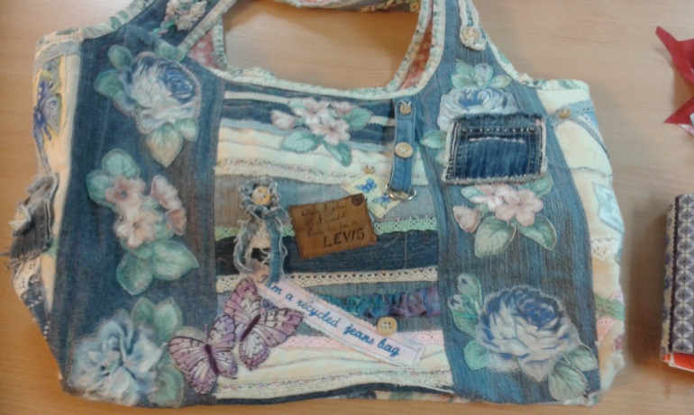Denim patchwork and appliqué bag