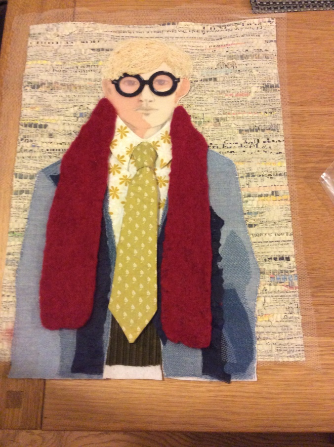 A felted scarf and he's nearly done!