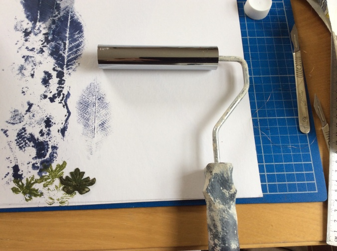 Frugal crafting with my home made brayer.