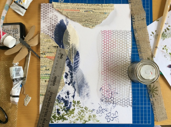 Stencilling with sequin waste.