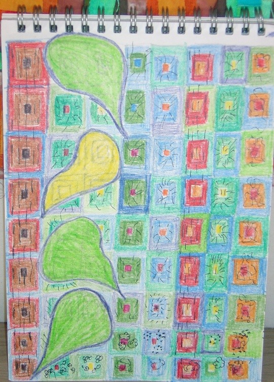 A sketchbook page displaying the initial design of Olga's Hockney inspired quilt.