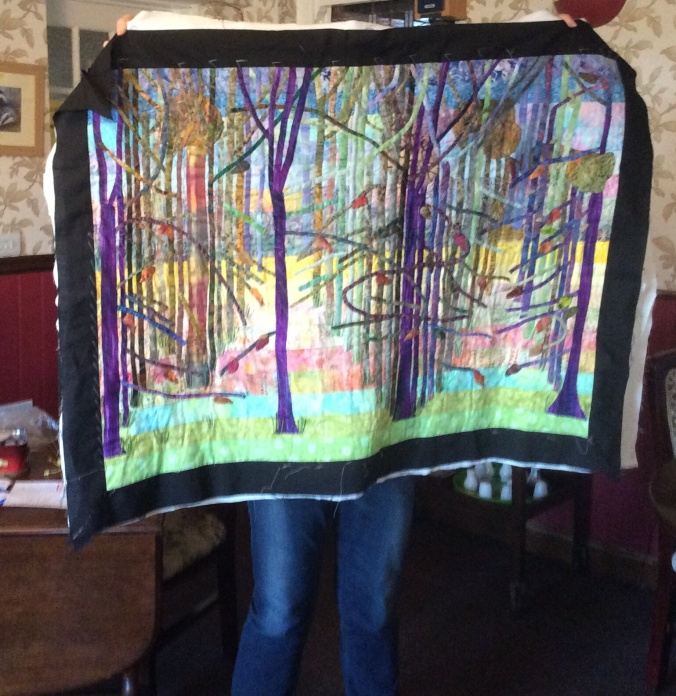 Jean's quilt is inspired by Hockney's Woldgate Woods.