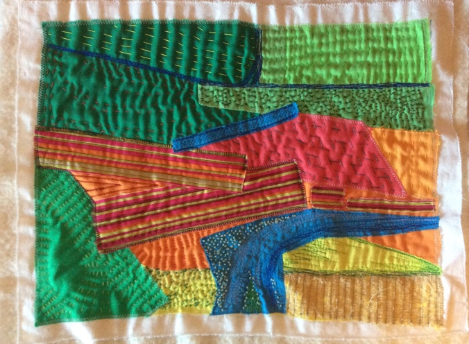 Karin's quilt inspired by Hockney's painting of Garrowby Hill.