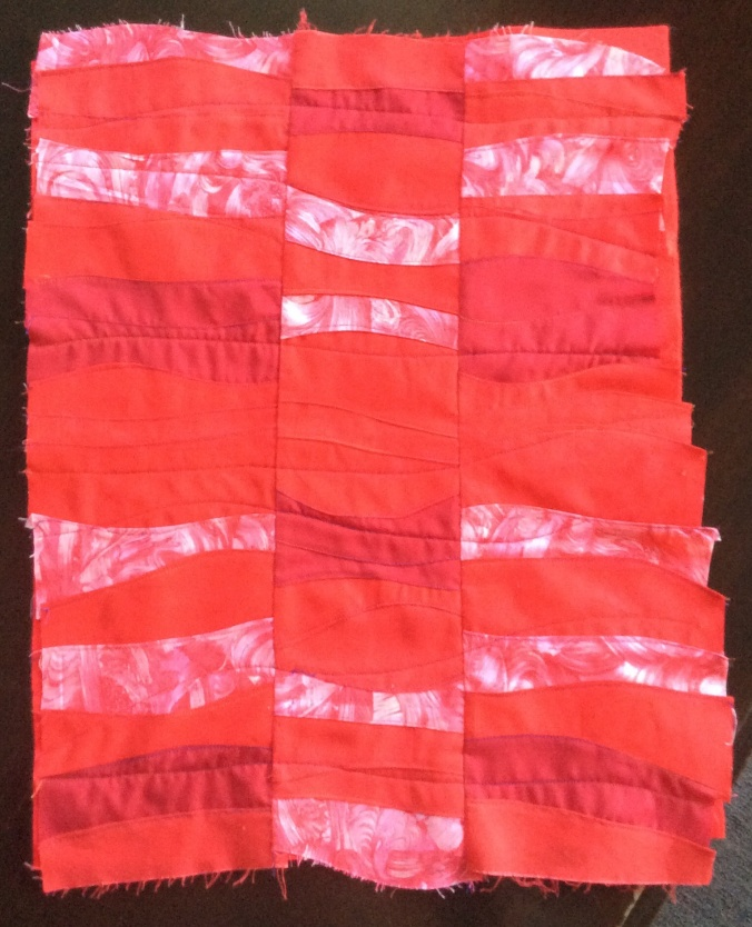 The red background for Carole's quilt.