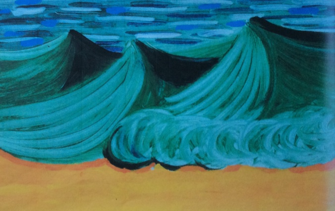 "Sandra's choice is Hockney's ""Three Green Waves with Orange Sand""."