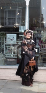 Elegant Steampunk lady photographed in the Bailgate, Lincoln