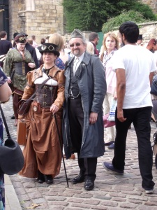 Steampunk couple photographed in Castle Square