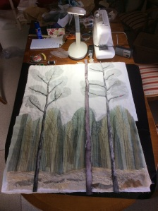Foreground trees tacked in position