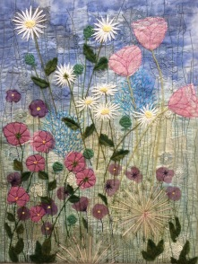 Summer Garden art quilt inspired by the Wendy Dolan book Layer, Paint & Stitch
