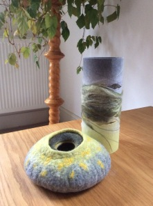 Wet felted bowl with matching vase