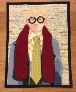 After 1954, my quilt based on Hockneys mixed media self portrait.