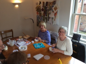 Two ladies trying out needle felting