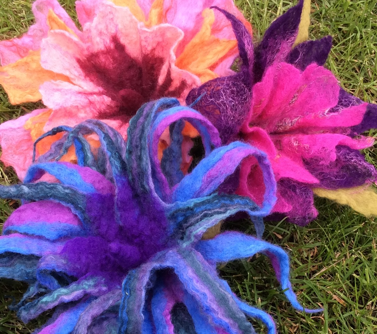 Wet Felted Flowers….. | Lincs In Stitches