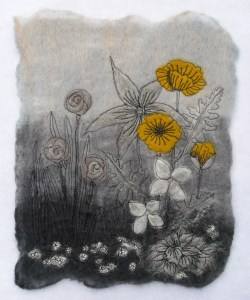 My original Yellow Poppies felted picture