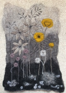 Wet felted Bergschaf and Merino wool picture entitled Yellow Poppies.
