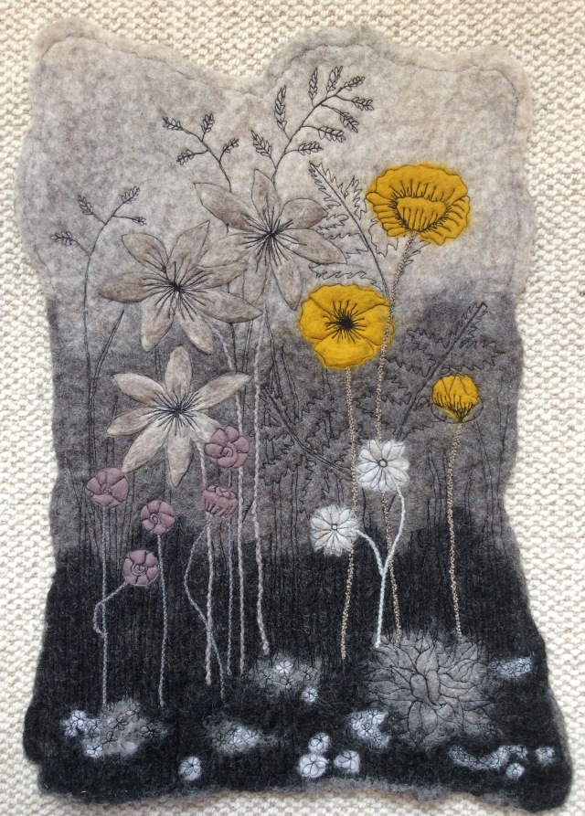 Yellow Poppies....a wet felted wall hanging