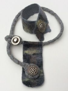 Necklace and Cuff set made from grey Merino