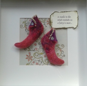 Fairy boots made from red Merino wool tops, embellished with beads
