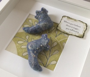 Fairy Boots made with blue Merino wool tops embellished with tiny beads