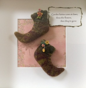 Fairy Boots made from green Merino wool tops and embellished with tiny enamelled flowers