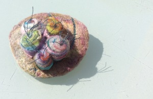 Floral brooch made with Merino wool and silk organza