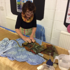 Sally working on her sculptural belt