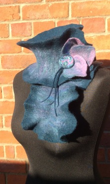 Wet felted Sculptural Collar made from Merino wool.