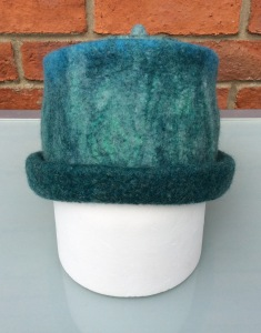 Ladies wet felted blue/green hat