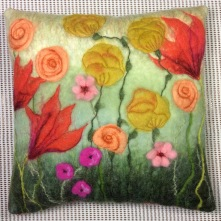 Wet felted floral cushion with free machine embroidery by Karen Lane