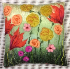 Daphne's wet felted floral cushion.