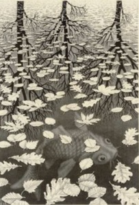 Black and white etching titled Three Worlds by artist Maurits Cornelis Escher
