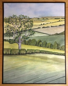 Art quilt depicting the Lincolnshire Wolds landscape