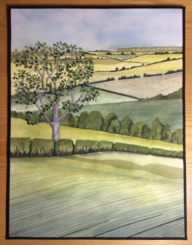 Art quilt depicting the Lincolnshire Wolds landscape