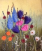 Flower Meadow - Merino wool, wet felted and machine embroidered.