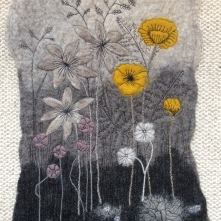 Yellow Poppies - Wet Felted Bergschaf wallhanging