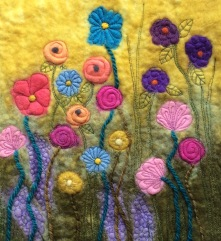 Flower Meadow - Wet Felted with hand & free motion embroidery