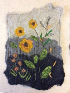 Wet Felted wallhanging with floral design